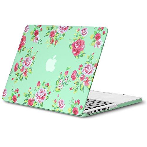 Kuzy Vintage Flowers Mint GREEN Case for Older MacBook