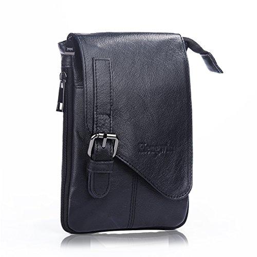 Hengwin メンズ 真正のレザー ファニー小型メッセンジャー ショルダーウエストバックパック、携帯パウチ ベルトクリップ付き、ホルスター、旅行用肩掛けかばん、ウォレット財布 ブラック