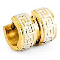 Amazon.com: Men's Stainless Steel Hoop Stud Earrings Gold ...