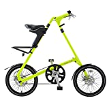 STRiDA EVO Folding Bicycle, unique design, folds to 45x20x9, 18 inch wheels, Unisex, Neon Yellow