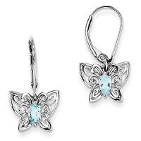 Sterling Silver Light Blue Topaz Diamond Earrings: Amazon ...