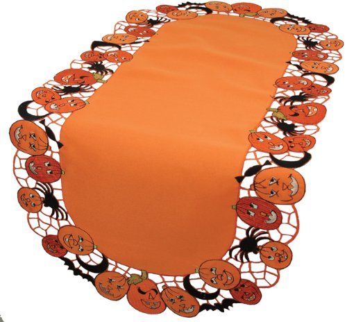 Xia Home Fashions Happy Jack-O-Lanterns-12 by 28-Inch Table Runner, Mini