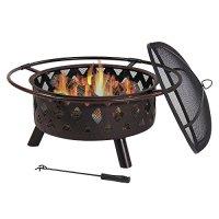 Sunnydaze 30 Inch Bronze Crossweave Wood Burning Fire Pit ...