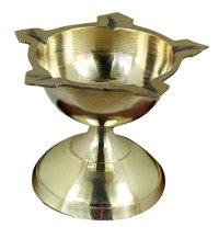 Indian Puja Brass Oil Lamp - Liquid Candle Diya Wick Night ...