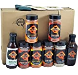 The Pit Master - Gift Basket is the best of the Backyard Grill BBQ Gift Basket - Spices & Sauce 11pcs set. What you get in this gift box: A Shaker of Killer Bee Rub (Honey Rub) - Killer Bee Chipotle (Honey Rub) - Dirty Bird Rub - Dirty Bird HOT Rub - Cow Cover Rub - Texas Beef Rub And a bottle each of - Competition BBQ Sauce - Sweet Apple Chipotle BBQ Sauce 2 - Kosmo's Drink Coasters 1 - Kosmo's Drink Koozie