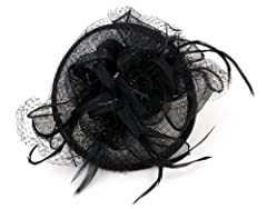 NYfashion101(TM) Cocktail Fashion Sinamay Fascinator Hat Flower Design & Net S102651-Black