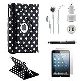 Gearonic iPad Mini 5-in-1 Accessories Bundle Black PolkaDot Rotating Case Business Travel Combo