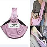i'Pet® Hands-free Reversible Small Dog Cat Sling Carrier Bag Travel Tote Soft Comfortable Puppy Kitty Rabbit Double-sided Pouch Shoulder Carry Tote Handbag (Pink)