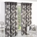 Poppy printed curtains ready made ring top lined floral eyelet