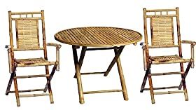 reviews 3 pc outdoor bamboo dining round table set outdoor and patio furniture sets sale bnkjgfw