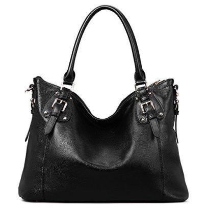AINIMOER-Womens-Large-Genuine-Leather-Vintage-Shoulder-Handbags-Ladies-Top-handle-Purse-Cross-Body-BagBlack-SN