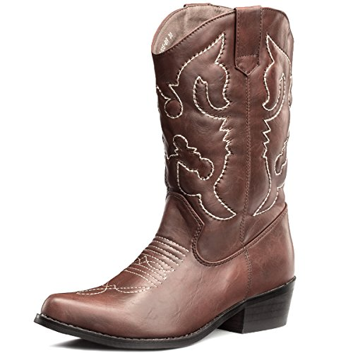 SheSole Womens Embroidered Western Cowboy Cowgirl MidCalf