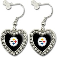NFL Pittsburgh Steelers Crystal Heart Earrings with Team