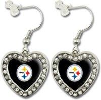 NFL Pittsburgh Steelers Crystal Heart Earrings with Team