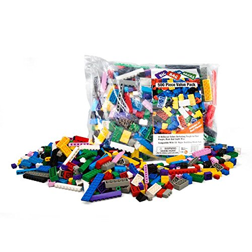 """Building Bricks - 500 Pc """"Big Bag of Bricks"""" Bulk Blocks with 27 Roof Pieces - Tight Fit and Compatible with Lego"""
