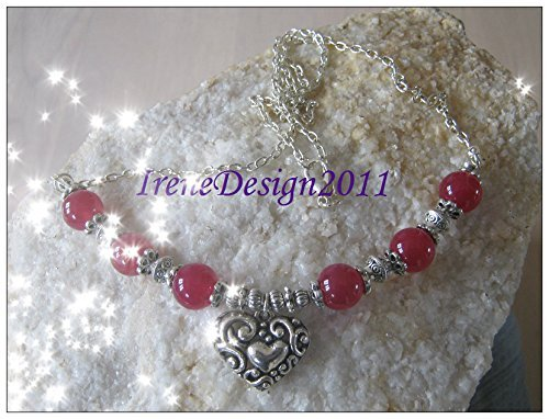 Silver Necklace with Pink Alexandrite & Heart
