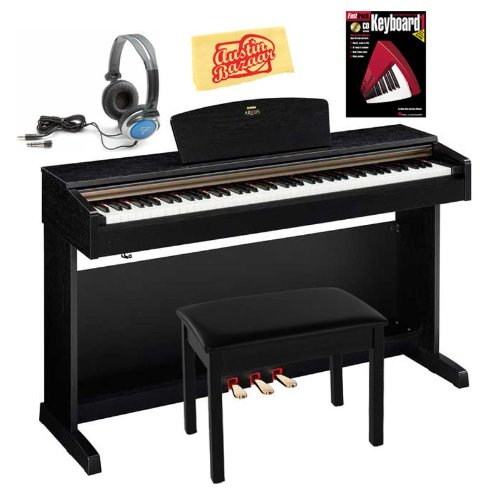 Yamaha Arius YDP161 Digital Piano Bundle with Bench, Headphones, Instructional Book, and Polishing Cloth - Black Walnut