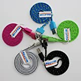 5pcs Pack Blue/pink/black/white/green 3ft 1m Long Noodle Flat Cloth Jacketed Fabric Braided USB Data Charging Cable Cord Charger Accessories for Apple Iphone 4 4s Ipod Touch 4 Nano 6 Ipad 1 2 3
