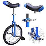 "18"" Inches Wheel Skid Proof Tread Pattern Unicycle Bike Cycling Uni-Cycle BLUE"