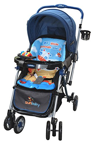 Sunbaby Royale Stripe Stroller (Sky Blue)