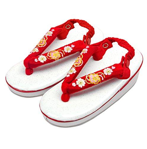 (キョウエツ) KYOETSU 七五三 ガールズ草履 女の子 白×赤鼻緒 桜刺繍 かかと留め 17cm-18cm (11-B)