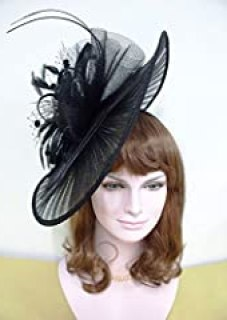 Fashion Big Kentucky Derby Feather Floral Organza Headband Fascinator Cocktail Hat Black