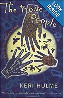 A cover of Keri Hulme's novel The Bone People. There are three hands held over a glowing sphere with silouettes of natural things in it.