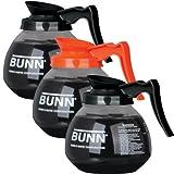 BUNN Coffee Pot Decanter / Carafe - Set of 3 - 2 Black Regular + 1 Orange Decafe - 12 Cup Capacity