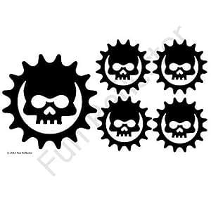 Amazon.com: Black Skull Cog Bicycle Reflective Reflector