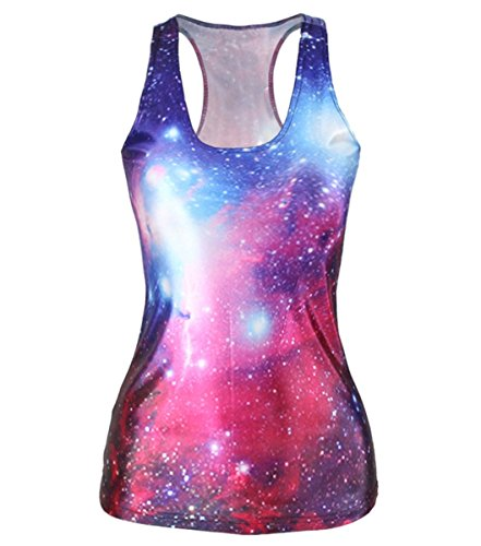 Women Digital Printed Sleeveless Galaxy T Shirt Vest Tank Tops