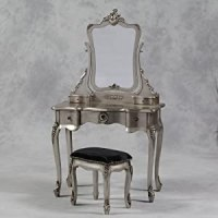 Gorgeous Antique Silver Leaf French Chateau Dressing Table