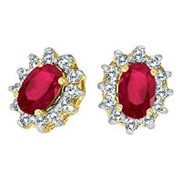 Amazon.com: 14k Yellow Gold Oval Ruby and .25 total ct ...