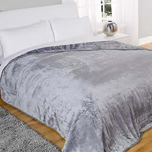Mink Faux Fur Throw Fleece Blanket Silver 200 x 240cm
