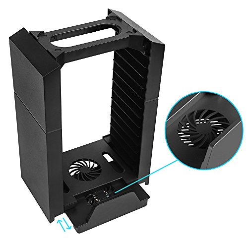 Vertical Stand Cooling Fan With Game Storage Tower For
