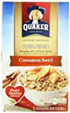 Quaker Instant Oatmeal High Fiber, Cinnamon Swirl, 12.6-Ounce Boxes (Pack of 4)