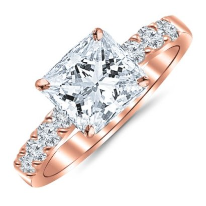 110-Carat-Princess-CutShape-14K-Rose-Gold-Classic-Prong-Set-Diamond-Engagement-Ring-with-a-060-cwt-I-J-Color-Eye-Clean-Clarity-Center-Stone