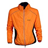 WOLFBIKE Cycling Jacket Jersey Long Sleeve Wind Coat, Color: Orange, Size: XXXL