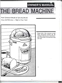 DAK Bread Machine Maker Instruction Manual & Recipes