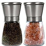 Salt and Pepper Grinder Set - Salt and Pepper Shakers - Adjustable Ceramic Spice Grinder - Easy to Fill Salt and Pepper - Pepper Grinder Maintains Spice Freshness - Pepper Mill - Salt Mill