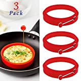 Silicone Small Egg & Pancake Ring Molds - 4 Inch Diameter - Set of 3 - Non Stick - Bpa-free - Multi Use Cookware for Skillets, Frying Pans, Griddles and BBQ (3 Pack)