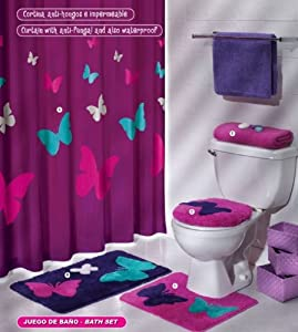 Amazoncom  Purple Pink Butterfly Mat Rug Bath Set 5 Pcs  Bathroom Sets With Shower Curtain