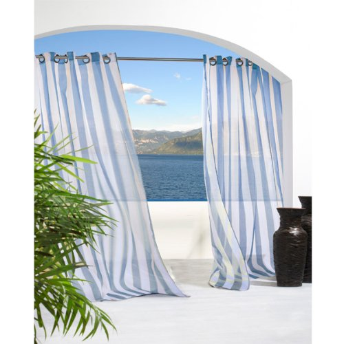 Cheap Outdoor Decor Escape Stripe Grommet Top Curtain PanelBlue 54 x 96 On Sale  White sheer