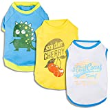 "Blueberry Pet Pack of 3 Dog Clothes 10"" Back Length T-Shirt for Small Dogs and Cats with Cherry Surfer and Dinosaur Pattern, Small"