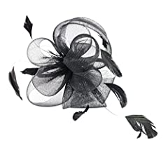 Ladies Night Fascinator Hat with Headband Flowers and Feathers (Black)