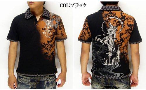 HARAKIRI[ハラキリ] 牙狼[GAROガロ]コラボ 流れ桜 刺繍 和柄Tシャツ/ポロシャツ/GRH-406--ブラック--L