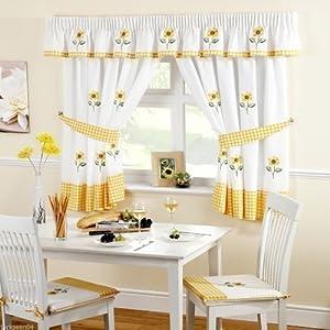 Sunflower Gingham Yellow Kitchen Curtains