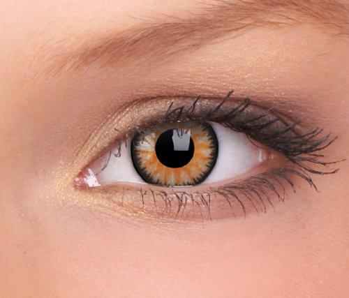 Farbige Kontaktlinsen 3-Monatslinsen & Color Contact lenses Braun / Honey 1 Paar (2 Stück) incl. 60ml Pflegemittel und Behälter!