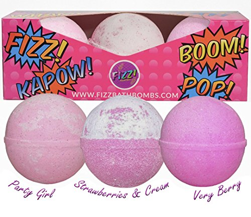 BATH BOMB GIFT SET FOR GIRLS: Great Christmas And Birthday Gift Idea - Includes 3 Extra Large (Baseball size) Bath Bombs In Fun Lush Colours & Scents.