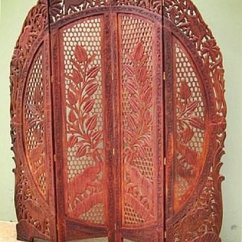 Folding Chair India Covers White Spandex Arched Elephants Carved Room Divider Teak Wood Screen 72 Bombayjewel