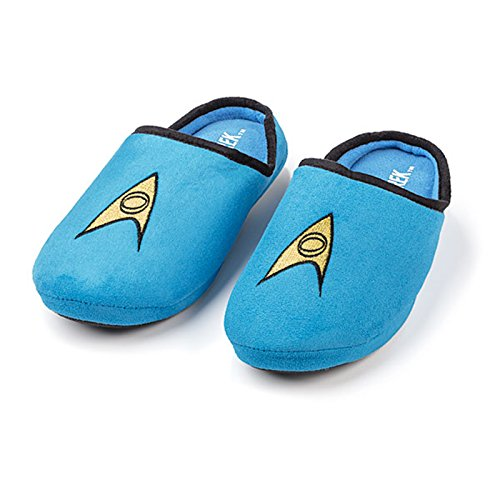 Star Trek Plush TOS Spock Comfortable No-Slip Slippers (Blue, XL - 12)